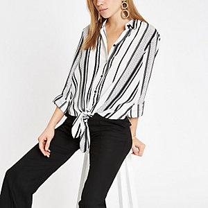 Zwart overhemd met strik voor en strepenprint