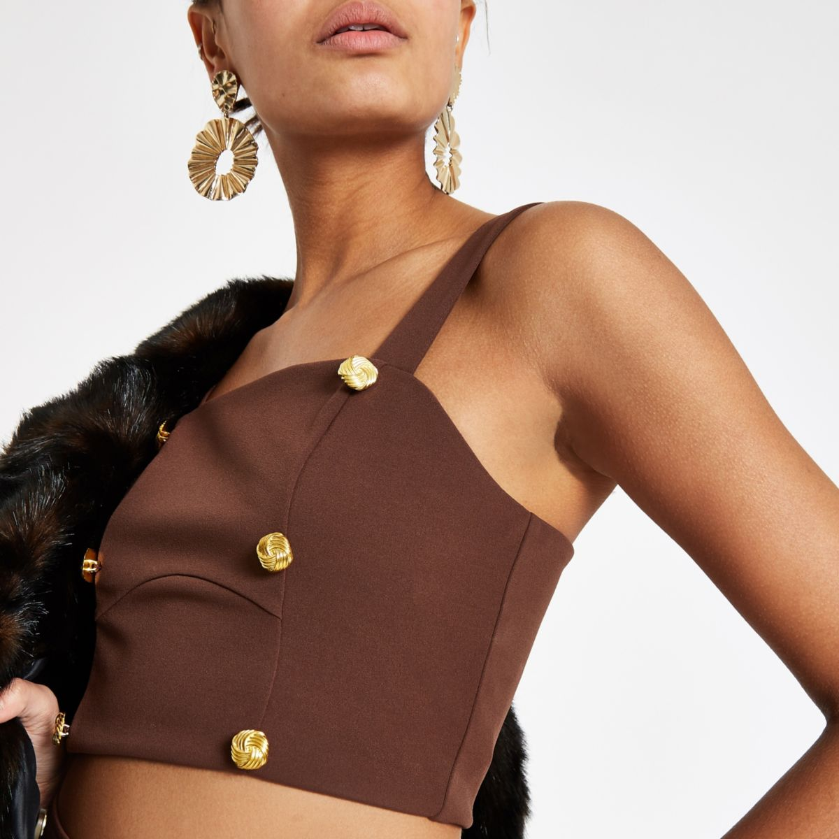 Chocolate button detail crop top