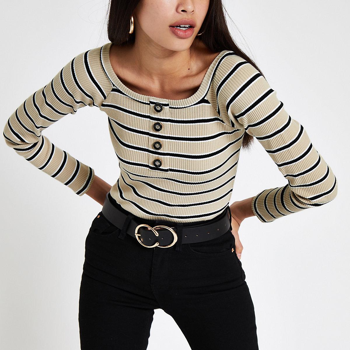 Beige stripe bardot bodysuit