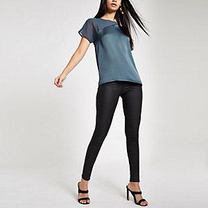 Teal asymmetric loose fit top