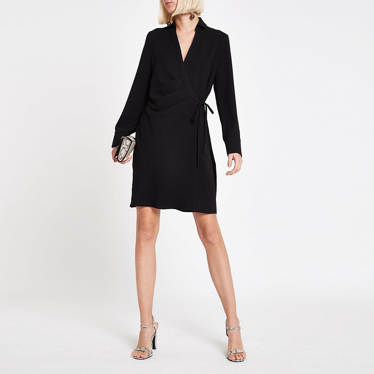Black wrap tie waist mini shirt dress