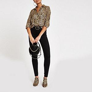 Braunes Langarmhemd mit Leoparden-Print