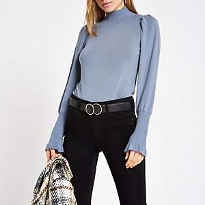 Blue knit frill turtle neck sweater