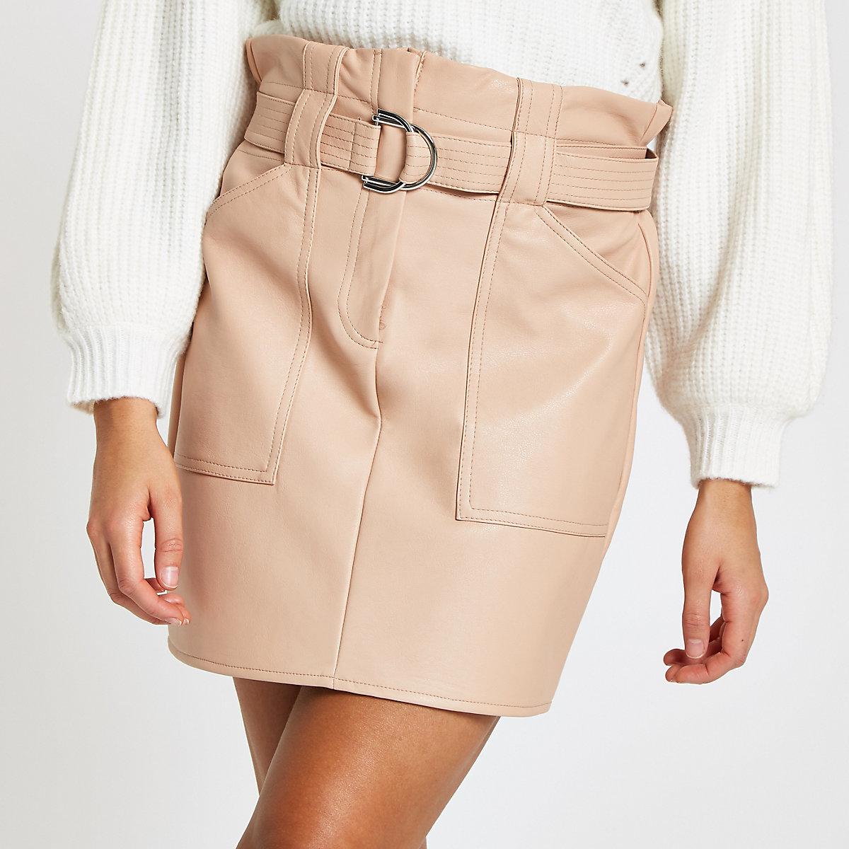 67b650fc8d Beige faux leather paperbag waist mini skirt - Mini Skirts - Skirts ...