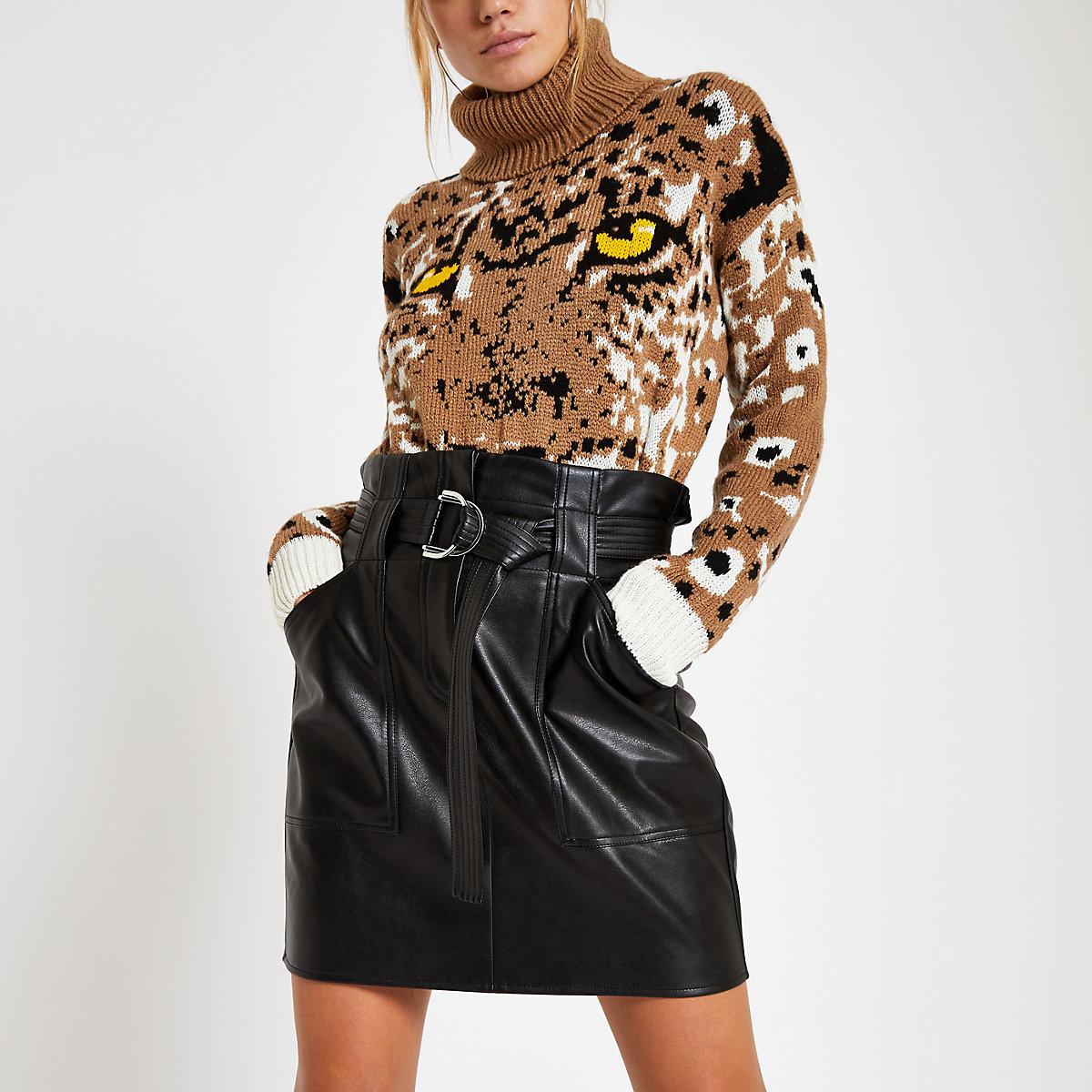 Black paperbag D-ring mini skirt