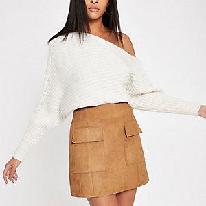 Mini-jupe en suédine marron clair