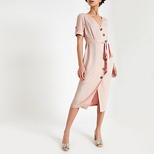 Pink button front midi dress