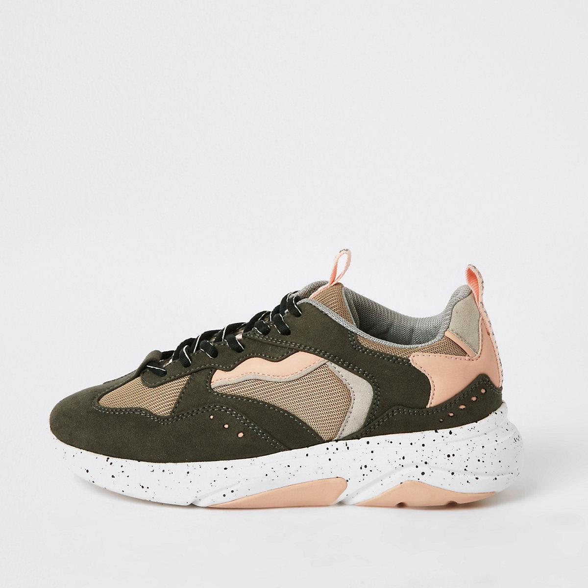 Khaki color block runner sneakers