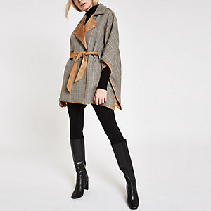 Brown check robe cape jacket