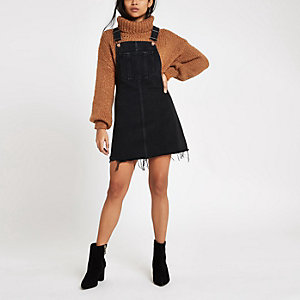 Petite black frayed hem denim overall dress