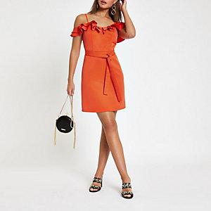 Bright red ruffle bardot mini dress