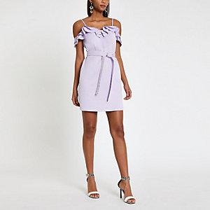 Mini robe Bardot violet clair à volants