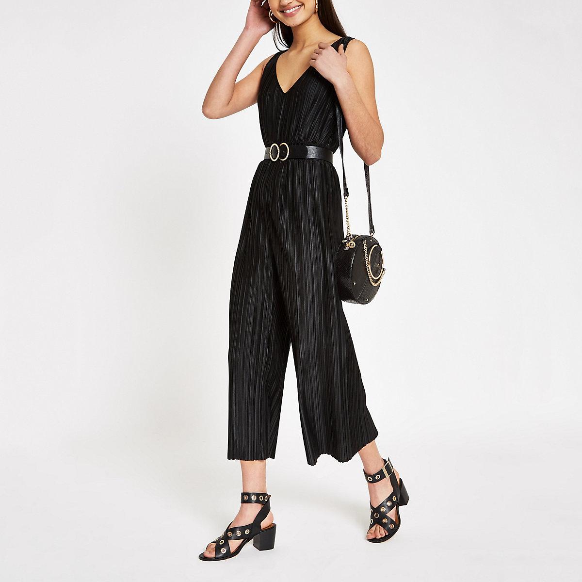 Black plisse sleeveless jumpsuit