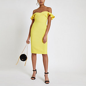 Yellow ruffle bardot midi bodycon dress