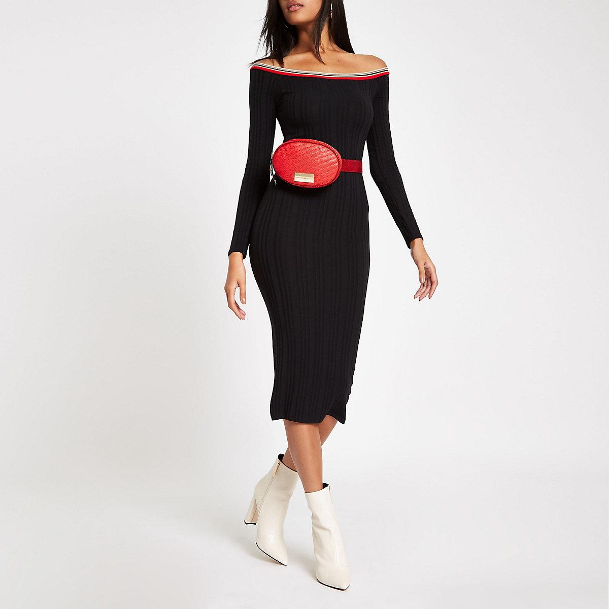 Black bardot stripe trim bodycon dress