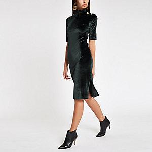 Hochgeschlossenes Bodycon-Kleid aus Samt