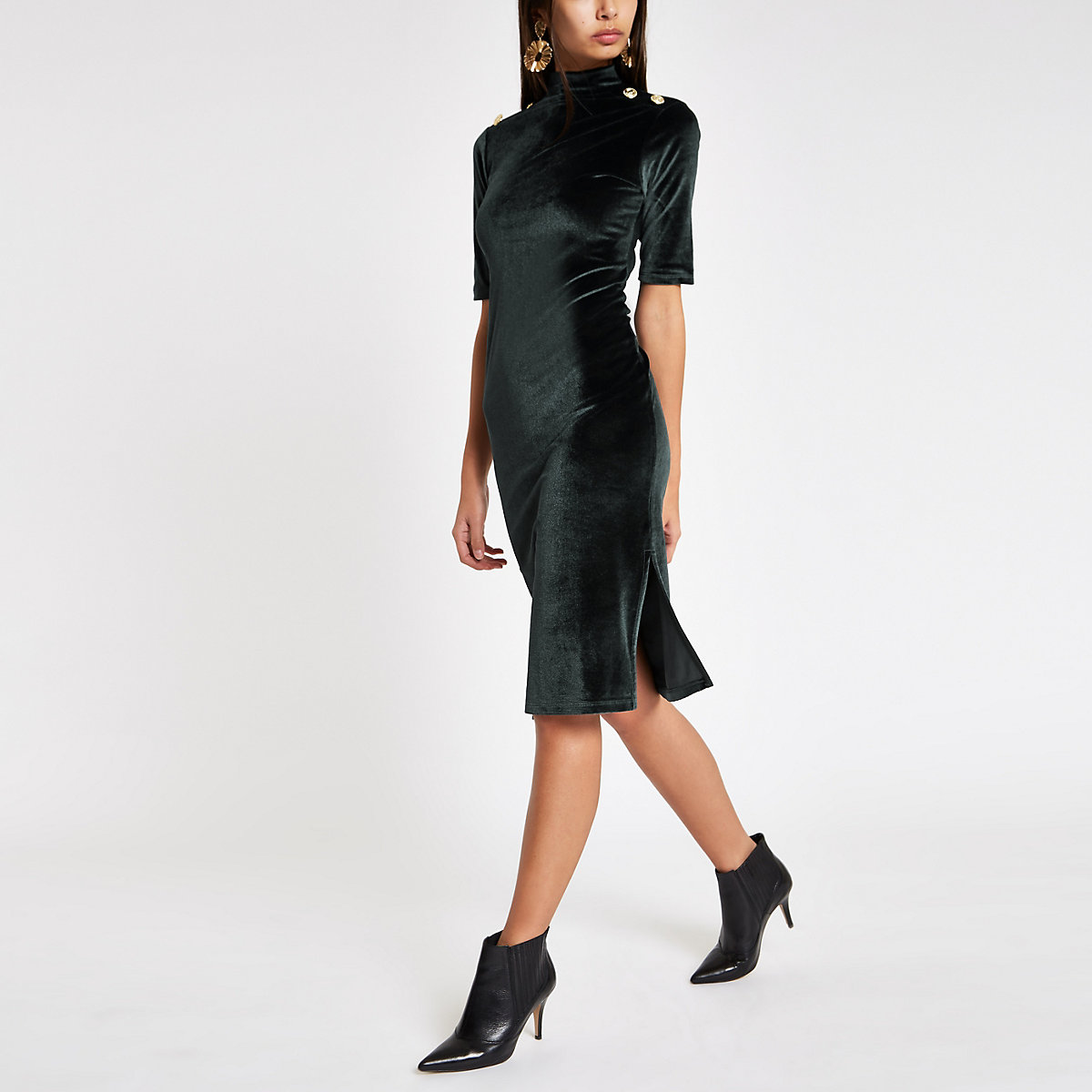 Green velvet high neck bodycon dress