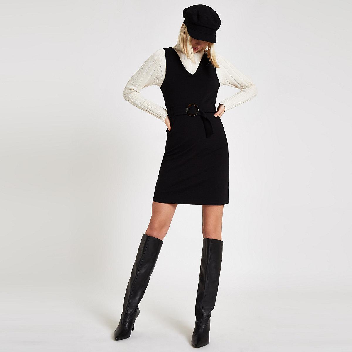 Black belted V neck mini dress
