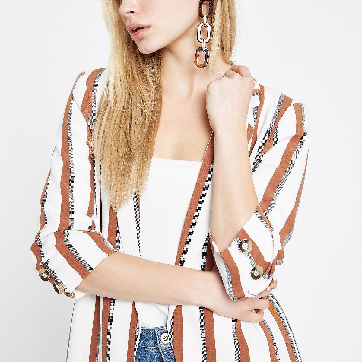 Brown stripe ruched sleeve blazer