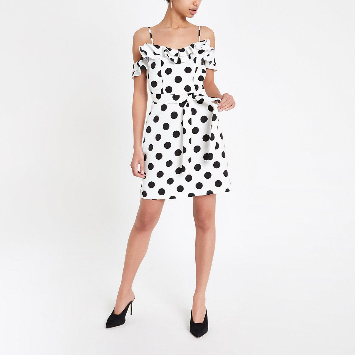 White spot ruffle bardot mini dress