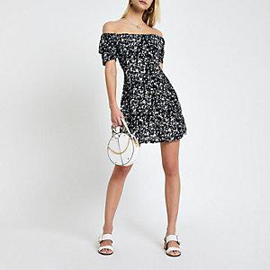 Schwarzes, geblümtes Bardot-Kleid