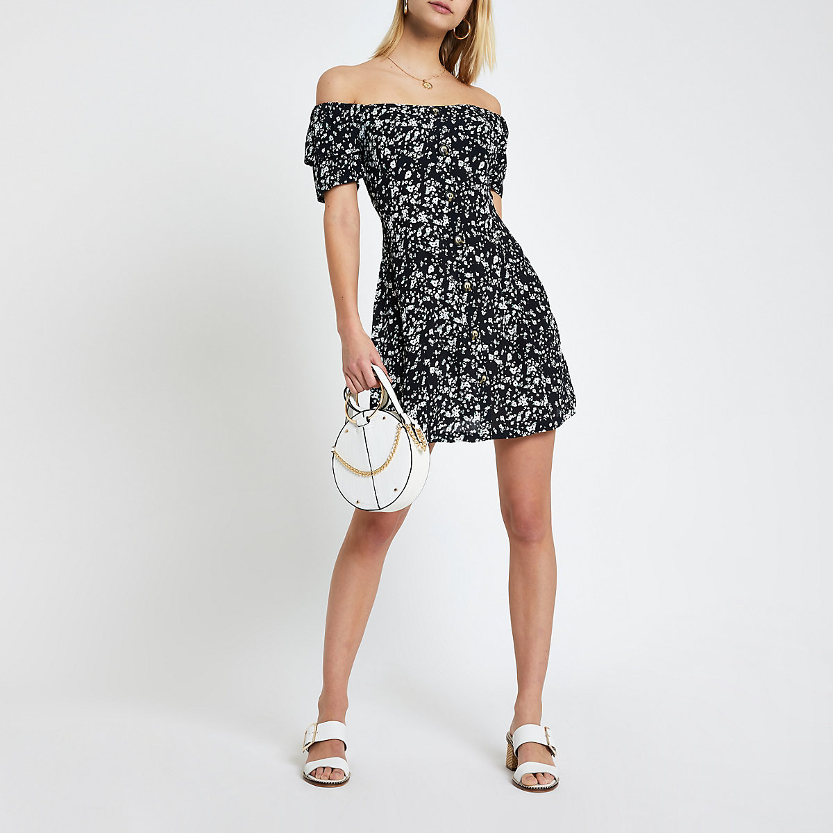 Black floral bardot button front dress