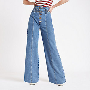 f401ab4ad8176 Mid blue belted wide leg denim jeans