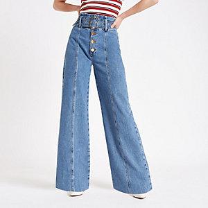 Mid blue belted wide leg denim jeans
