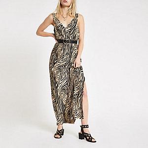Beige plissé maxi-jurk met zebraprint