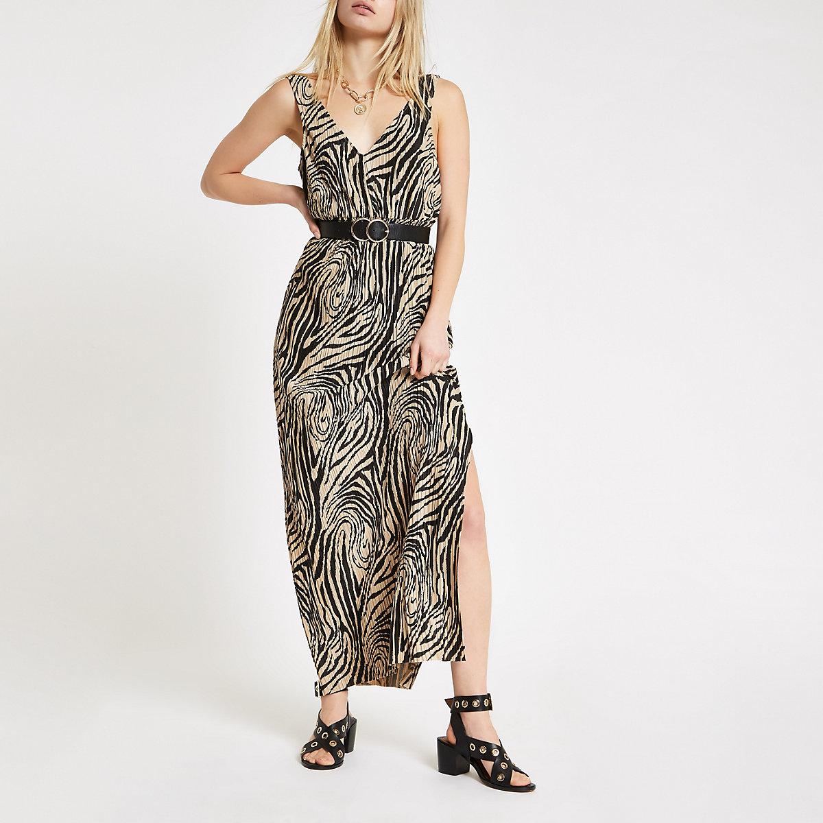 Beige zebra print plisse maxi dress