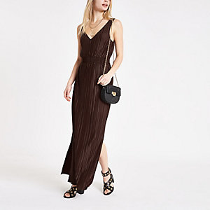 Brown plisse maxi dress