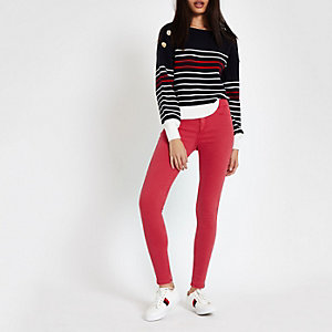 Molly - Rode jeggings met halfhoge taille