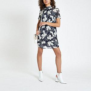 Marineblaues, geblümtes Swing-Kleid