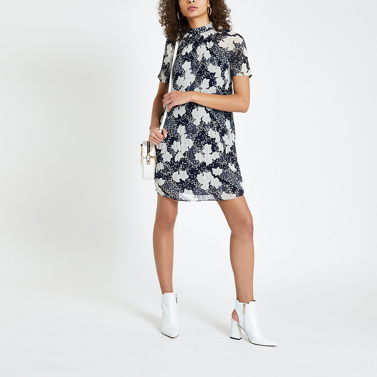 Navy floral print pleated swing dress