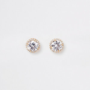 Gold tone cubic zirconia stud earrings