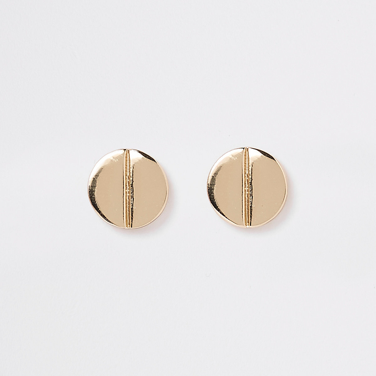 Gold plated split stud earrings
