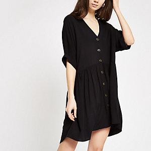 Geknöpftes Swing-Kleid in Schwarz