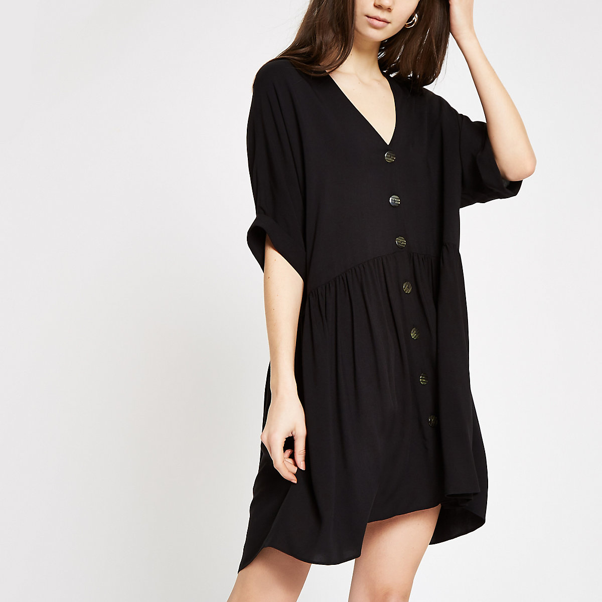Black button front swing dress