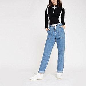 Middelblauwe utility-jeans met hoge taille