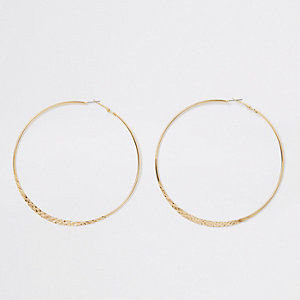Gold tone crosshatch large hoop earrings