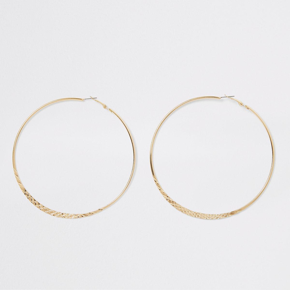 Gold color crosshatch large hoop earrings