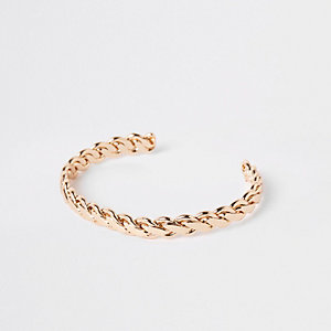 Gold colour plaited cuff bracelet