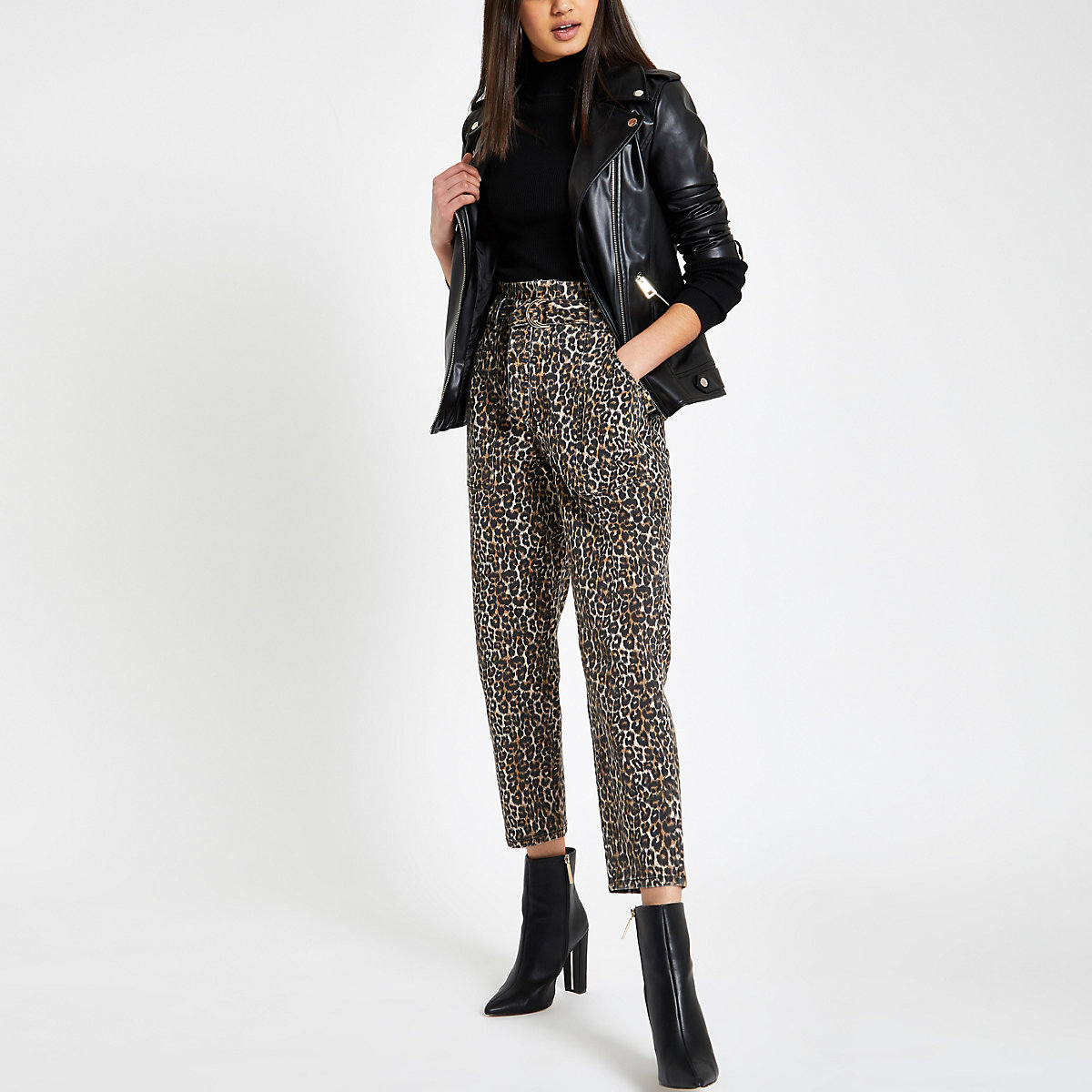 Brown leopard print paperbag jeans
