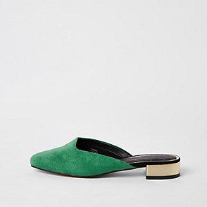 Groene loafers met open hiel en vierkante neus