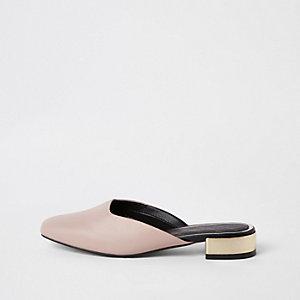 Lichtroze loafers met vierkante neus zonder hiel