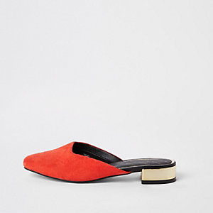 Red square toe backless loafers