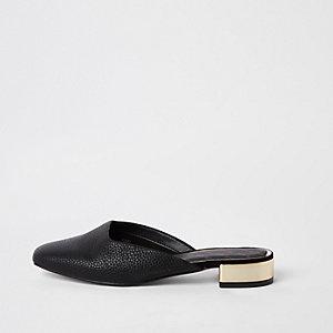 Zwarte loafers met open hiel en vierkante neus