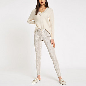 Cream Molly snake print jeggings