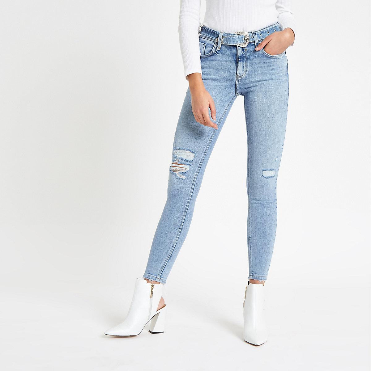 Blue Amelie belted skinny jeans
