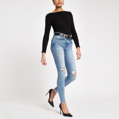 Light Blue Amelie Ripped Skinny Jeans by River Island
